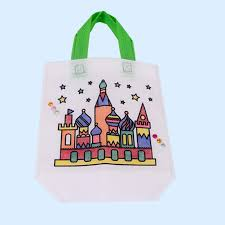 eco bag creative drawing toys coloring games on eco bag with pens and drills
