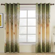 two panels curtain country leaf living room polyester material