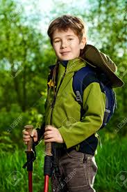 Hiking Clothes For Summer Portrait Of A Cute 7 Years Old Boy In Tourist Clothes Posing