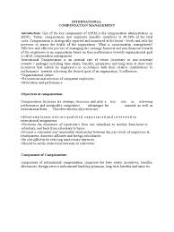 international compensation management employee benefits salary