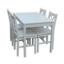 Dining Table 4 Chairs Set Foxhunter Quality Solid Wooden Dining Table And 4 Chairs Set
