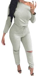 amazon jumpsuit com jiujiuyi s grey one shoulder ripped blouson jumpsuit