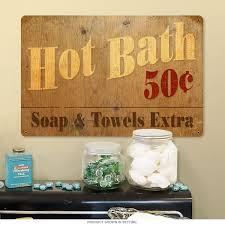 Vintage Bathroom Decor by Bath 50 Cents Large Metal Sign Vintage Bathroom Decor