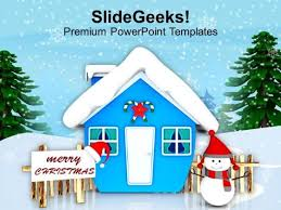 snowman wishing merry christmas powerpoint templates ppt