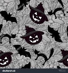 hand drawn halloween zentangle pattern pumpkin stock vector