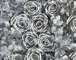 silver roses silver flower etsy