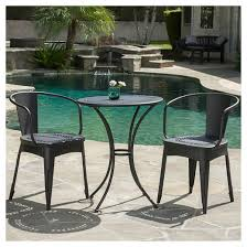 Cast Iron Bistro Chairs Lourdes 3pc Cast Iron Patio Bistro Set Black Sand Christopher