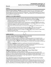 Quality Assurance Manager Resume Sample Management Engineering Resume Sales Engineering Lewesmr