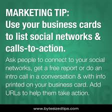 Social Network Business Card Use Your Business Cards To List Social Networks U0026 Calls To Action