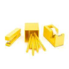 poppin yellow starter set including stapler pen cup pens tape
