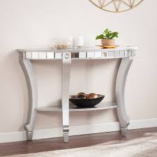 lindsay glam mirrored demilune console table in matte silver