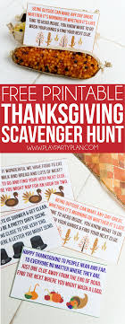 free printable thanksgiving scavenger hunt for