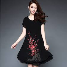 summer dress women party red flowers embroidery women