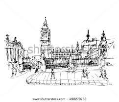 london city hand drawn illustration sketch stock vector 341134445