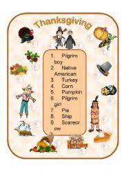 worksheet thanksgiving words