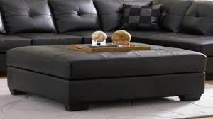 Black Leather Ottoman Coffee Table Incredible Ottomans Benches Regarding Black Leather Ottoman With
