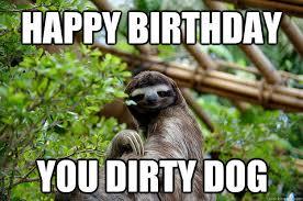 Happy Birthday Meme Dog - happy birthday you dirty dog fabulous sloth quickmeme