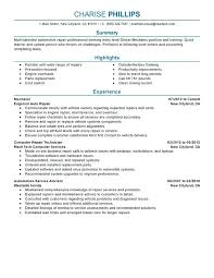resume resume summary statement examples entry level mechanic