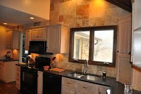 Kitchen Sink Backsplash Ideas Furniture Beige Tile Backsplash And Black Grenite Countertops
