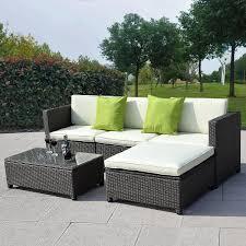 Outdoor Patio Wicker Furniture Outdoor Patio Wicker Sofa Set 5pc Pe Rattan Rushreed 3 Piece