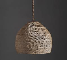 Wicker Pendant Light Flora Rattan Pendant Pottery Barn