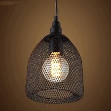 Black Ceiling Light Shade Vintage Black Industrial Rustic Metal Mesh Led Pendant Light