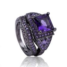 black and pink wedding ring sets black ring sets hot black gun color zircon pink purple fashion
