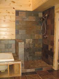 bathroom wooden pillar design ideas with walk in shower ideas