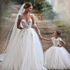 robe de mariage 2015 illusion neckline tulle sleeve wedding gowns with appliques
