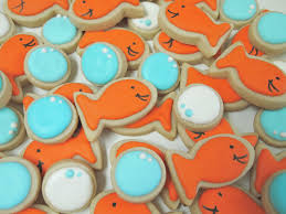 mini goldfish and bubble cookies by auntiebeasbakery on etsy