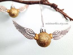 harry potter inspired golden snitch ornament decoration