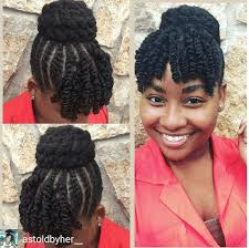 natural styles that you can wear in the winter twisted top bun bangs protective styles bangs and black girls