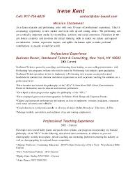 Ballet Resume Bus Resume With Mission Statement