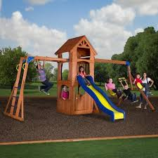 Playground Sets For Backyards by Backyard Discovery Parkway Wooden Swing Set Walmart Com