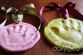 non toxic salt dough handprint ornaments also a idea for