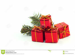 christmas presents ornaments on white background stock images