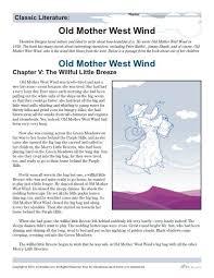 reading comprehension worksheets old mother west wind