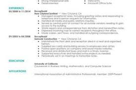 Best Receptionist Resumes by Front Office Assistant Resume Sample Reentrycorps