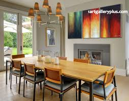 Dining Room Paintings 3 Piece Group Canvas Orange Abstract Large Pictures Oil