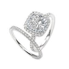bridal ring set 2 40 ct cushion cut halo diamond engagement bridal ring set