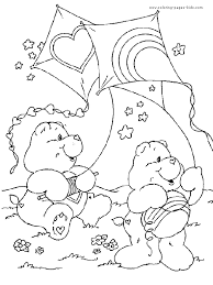 care bears with kites care bears coloring page
