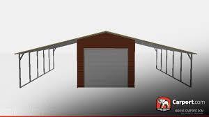 Carport Attached To Garage 36 U0027 X 21 U0027 X 10 U0027 Steel Building With Lean Tos Shop Metal