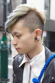 stud hairstyles shaved long hair w ear stud and silver earring tokyo fashion news