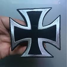german iron cross medal ww2 valor war biker iron on