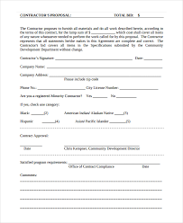contract proposal contract proposal template standard contract