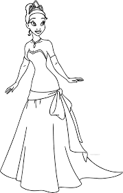 disney the princess and the frog perfect tiana dress coloring page