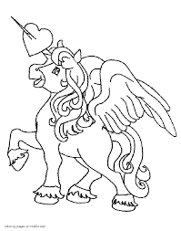 unicorn coloring page for valentine u0027s day