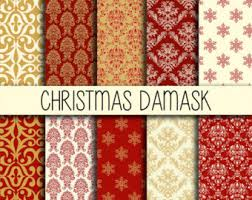 damask wrapping paper white christmas patterns backgrounds instant