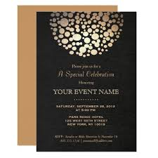 formal invitations gold circle sphere black linen look formal card zazzle