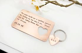 Card For Groom From Bride Hand Stamped Wallet Insert Card And Key Chain Set